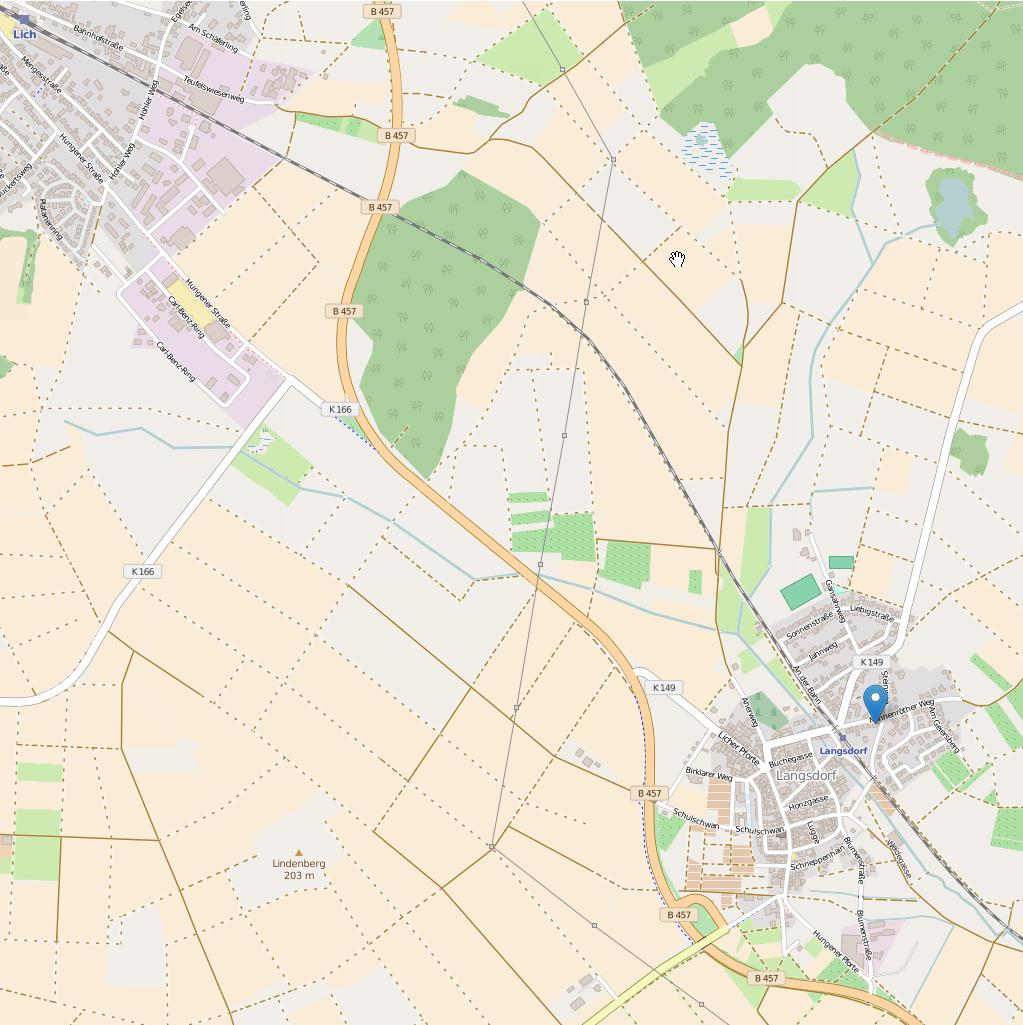 Link öffnet openstreetmap.org mit der Übersicht Anfahrt Lich-Langsdorf